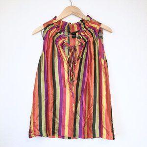 Marc Jacobs Silk Striped Tie Front Blouse Size M